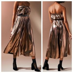 UO Bronze Metallic Strapless Jumpsuit NWOT